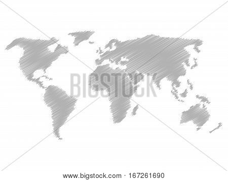Pencil scribble sketch map of World. Hand doodle drawing. Grey vector illustration on white background.