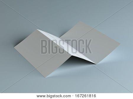 Blank tri fold paper brochure mockup. 3D Illustration