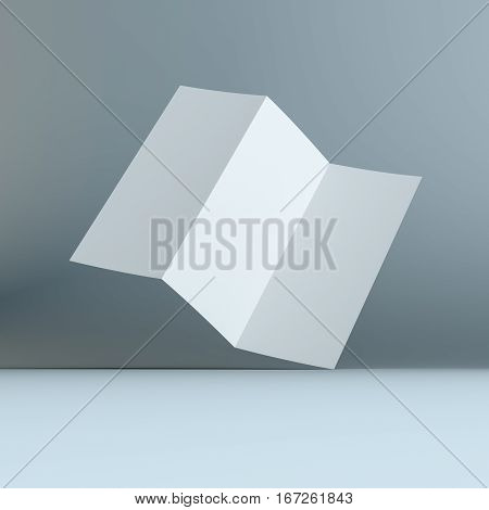 Simple Blank Tri-fold Brochure Corporate Identity. 3D Illustration Template