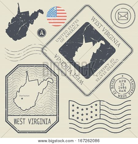 Retro vintage postage stamps set West Virginia United States theme vector illustration