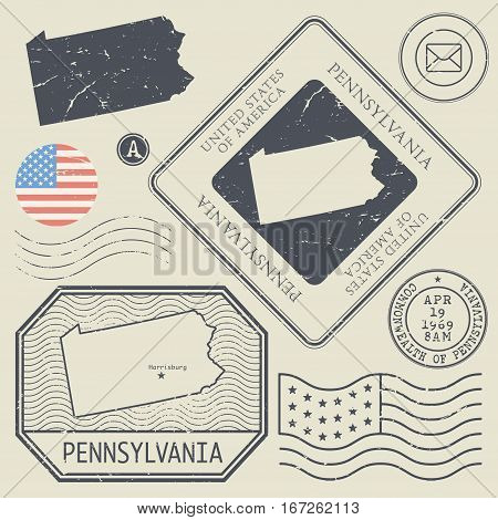 Retro vintage postage stamps set Pennsylvania United States theme vector illustration
