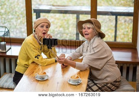 Two senior women taking selfie. Old ladies near cafe window. New model of monopod.