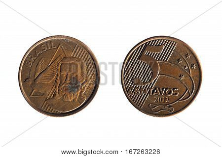 Brazilian Real Five Cents Coin