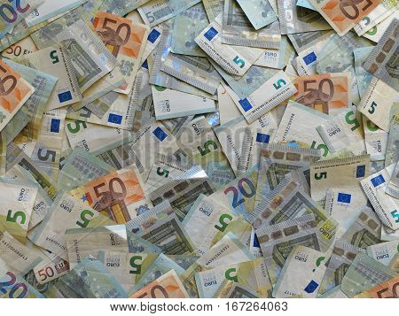 many euro banknotes background conceptual money image