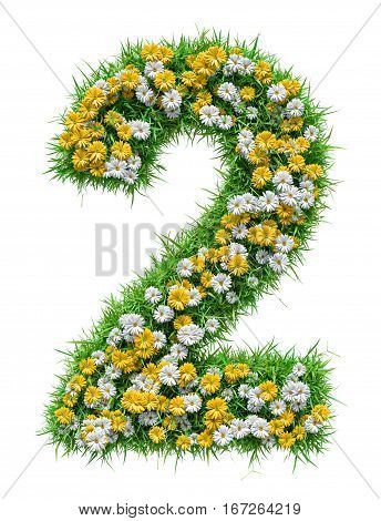 Number 2 of Green Grass And Flowers, isolated on white background. 3D illustration