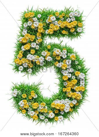 Number 5 of Green Grass And Flowers, isolated on white background. 3D illustration