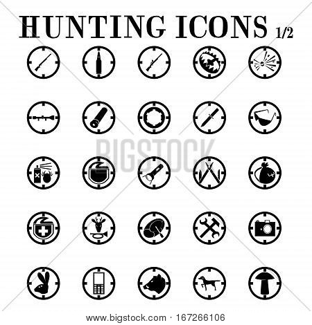 Hunting icons Page first of the two. icons on the theme of hunting, weapons, equipment, vehicles, animals, mushroom picking.