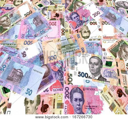 The chaotic background of paper banknotes high esteem Ukrainian state