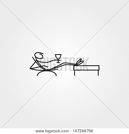 Cartoon icons set of sketch stick business figure relaxing vector in cute miniature scenes.