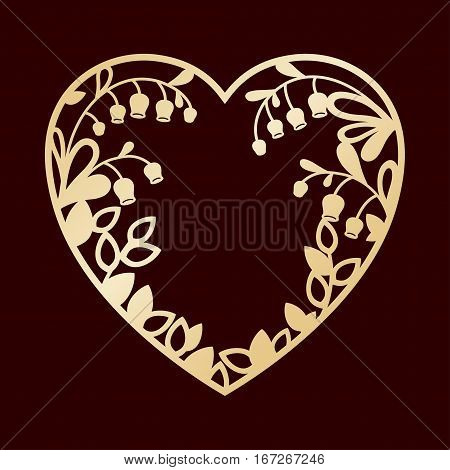 Silhouette of the heart with lilies of the valley. Laser cutting or foiling template for greeting cards envelopes wedding invitations interior decorative elements.