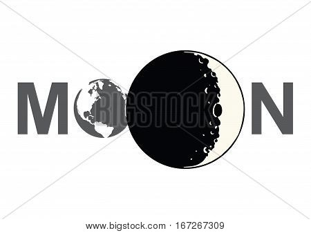 Lable of moon with Eart and Moon Icon