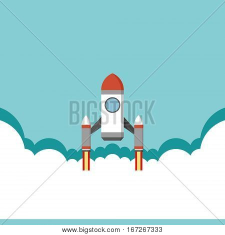 Rocket soaring above the clouds and sky