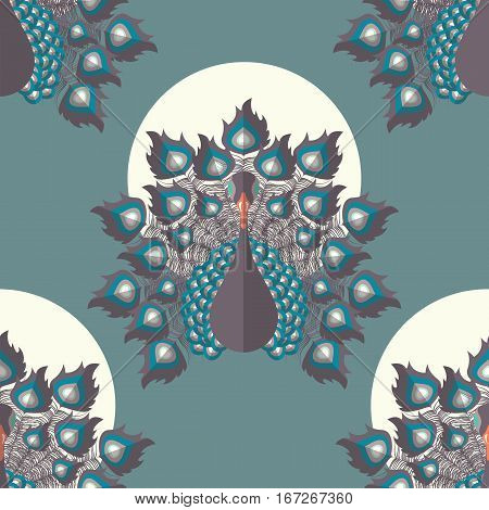 Seamless pattern with colorful peacock birds and feathers hand drawn vector illustration
