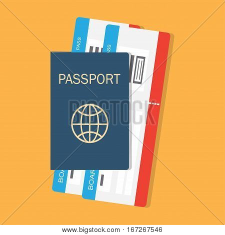 vector illustration passport with tickets passport and boarding pass tickets icon