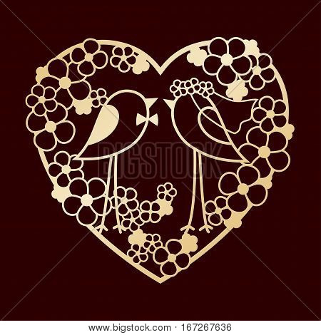 Wedding of two birds among the flowers. Openwork heart wreath of flowers. Laser cutting or foiling template for decoration cards invitations interior decorative elements.