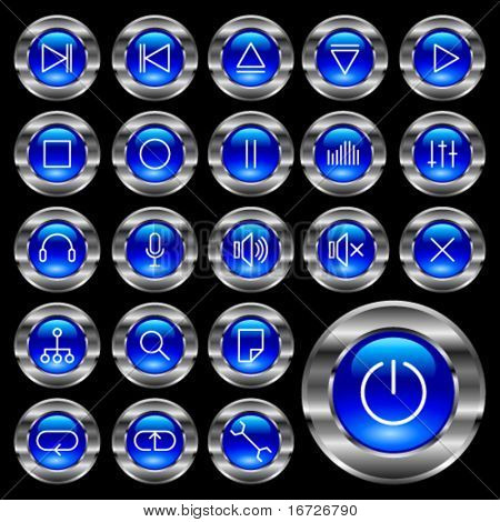 Round metal media-player blue button.
