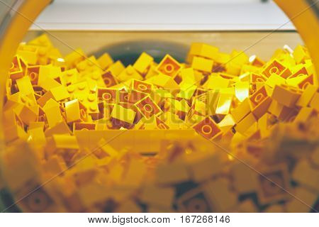 Plastic Brick Toy In Yellow Colour