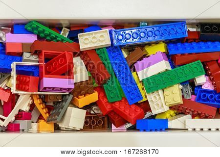 Pile of plastic toy bricks for background use