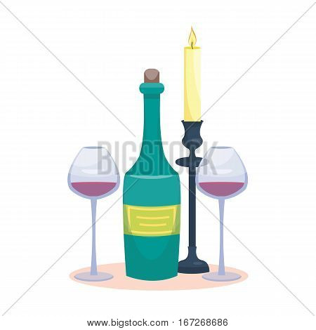 Candlelight dinner. Wine bottle and glasses with candle. vector illustration. Cartoon style
