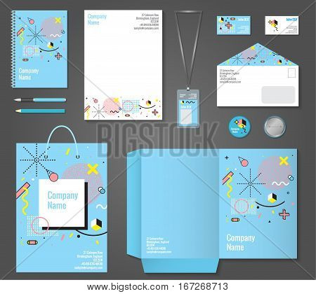 Set of stationery corporate identity memphis style including letterhead notepad business card and badge isolated vector illustration