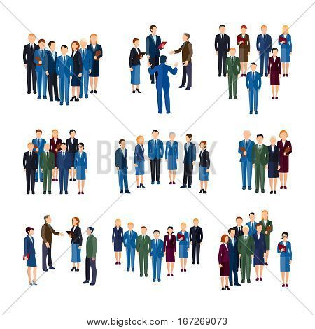 Businessmen and women professionals formally dressed working in office  people groups flat icons collection isolated vector illustration