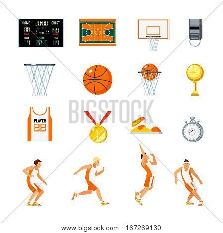 Basketball orthogonal icons set with players trophies whistle stopwatch backboard court and sports uniform isolated vector illustration