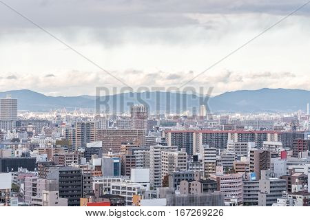 Aerial View of Osaka city Kansai Japan.