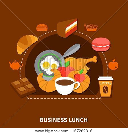 Fast food restaurant best choice business lunch menu  poster with chicken fried eggs coffee flat vector illustration
