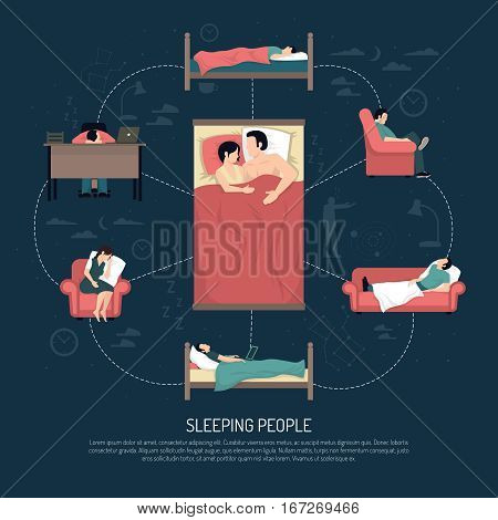 Sleeping people design concept with married couple laying in bed and young men and women resting in chair on couch and at table vector illustration