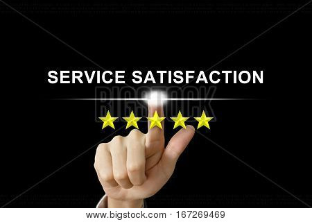 business hand clicking service satisfaction with five stars on screen