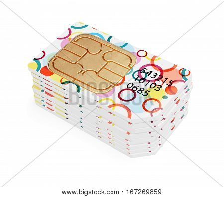 Mobile technology wireless telecommunication internet dial concept . Colorful SIM cards row stack for smartphones and mobile phones. 3d rendering illustration isolated on white background