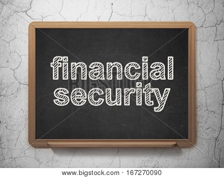 Protection concept: text Financial Security on Black chalkboard on grunge wall background, 3D rendering