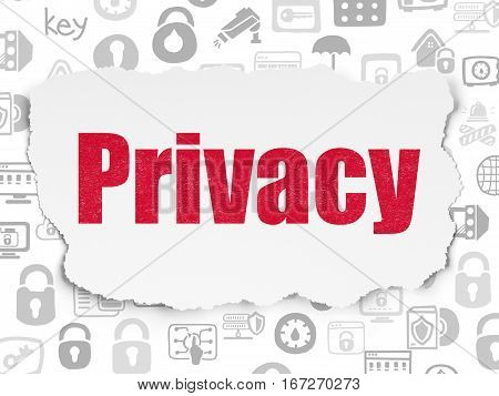 Privacy concept: Painted red text Privacy on Torn Paper background with  Hand Drawn Security Icons