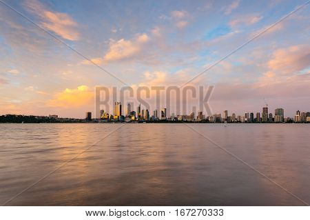 Perth City during a beautiful sunset on a summer evening. Perth, Western Australia, Australia.