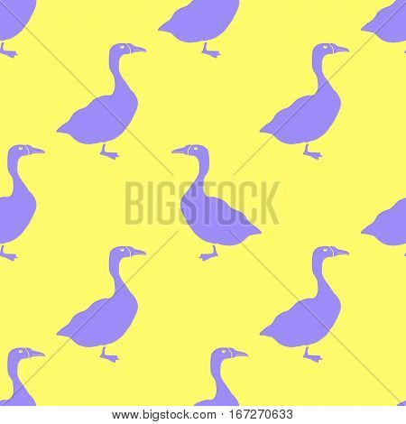 Hand Drawn Goose silhouette seamless pattern. Vector Illsutration