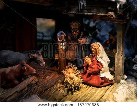 Lutago Italy - December 23 2016: Maranatha Museum the largest crib exhibition in Europe. Are exposed various antiques and original Christmas cribs