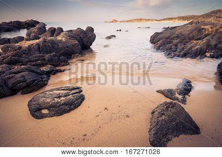 The sea and the pristine beaches of Chia Sardinia island Italy.