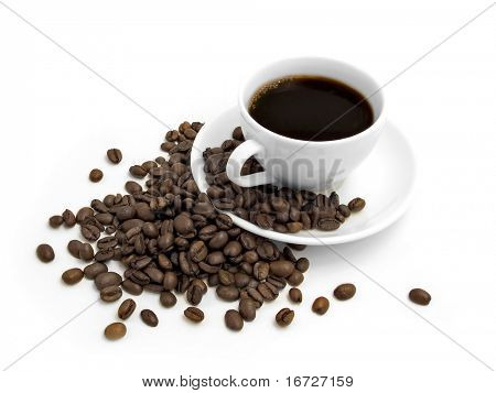 Coffee on a white background.