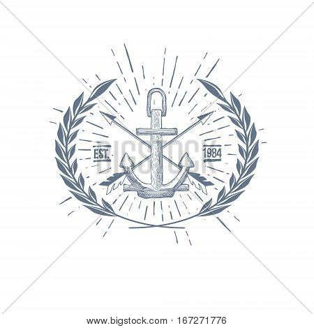 Vintage Hipster Logo Crossed Arrows with Anchor Vector illustration