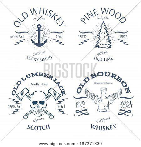 Vintage Style Whisky Label Design Vector illustration