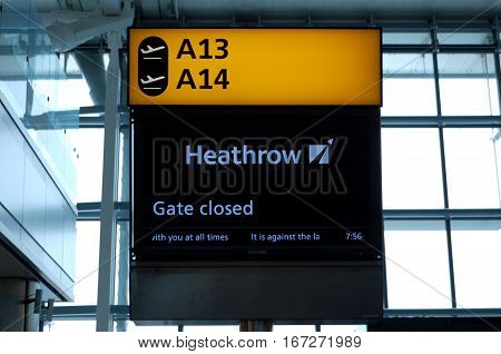 London, UK, 03 Jul. 2009: Banner of A13 and A14 Gates in Heathrow Airport. Gates closed indiation.