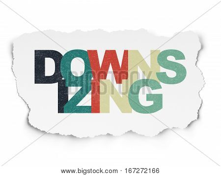 Business concept: Painted multicolor text Downsizing on Torn Paper background