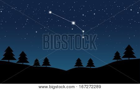 Vector illustration of Aries constellation on the background of starry sky and night landscape