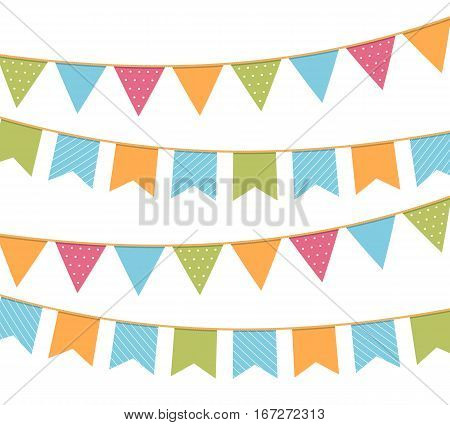 Different colorful bunting for decoration of invitations greeting cards etc, bunting flags, vector eps10 illustration