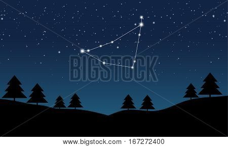 Vector illustration of Capricorn constellation on the background of starry sky and night landscape