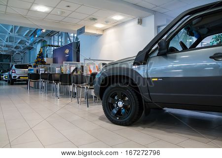 Showroom Of Dealership Chevrolet And Car In It In Kirov City In 2016