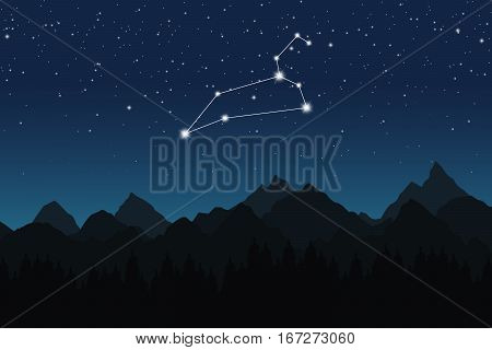 Vector illustration of Leo constellation on the background of starry sky and night mountain