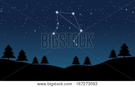 Vector illustration of Libra constellation on the background of starry sky and night landscape