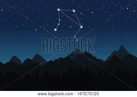 Vector illustration of Libra constellation on the background of starry sky and night mountain
