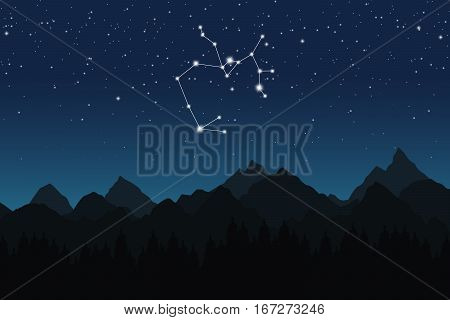 Vector illustration of Sagittarius constellation on the background of starry sky and night mountain